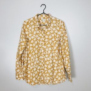*Garnet Hill Sunflower Long Sleeve Button Down Top